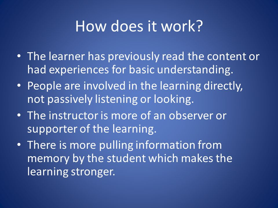 Why collaborative learning.Increased involvement for the learner.