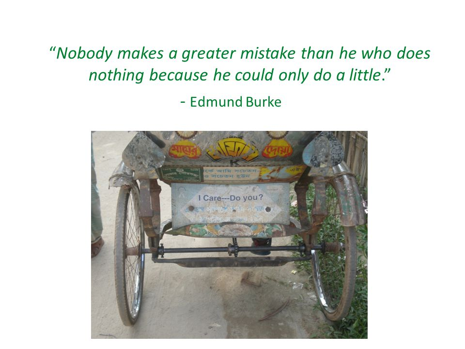Nobody makes a greater mistake than he who does nothing because he could only do a little. - Edmund Burke
