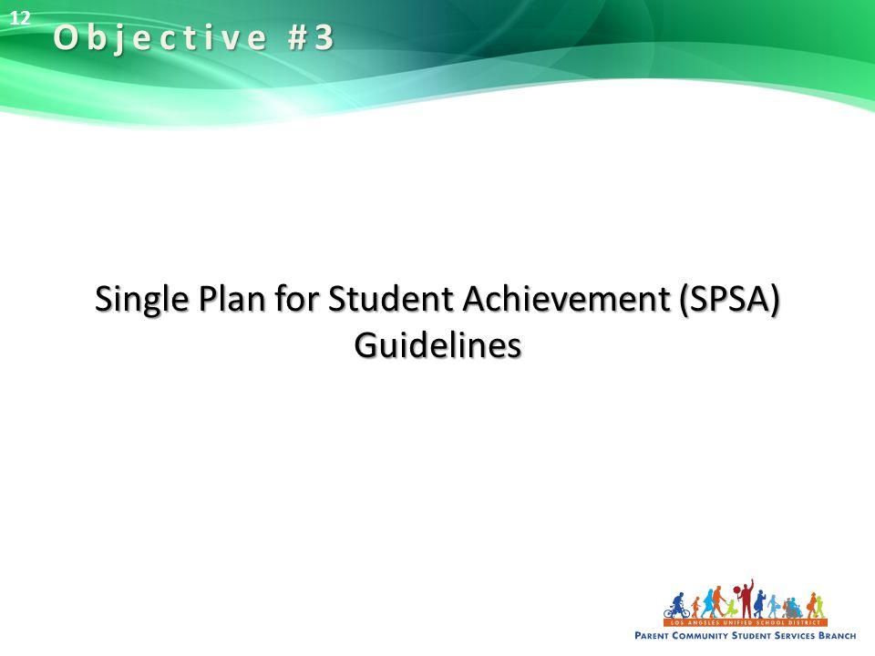 Single Plan for Student Achievement (SPSA) Guidelines Objective #3 12