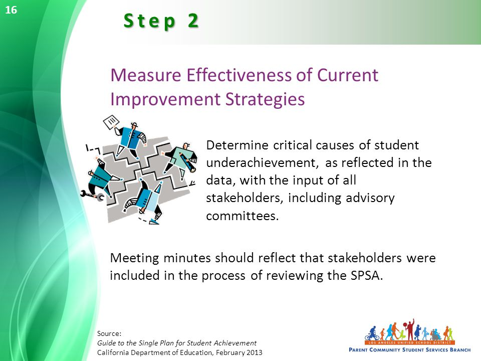 Measure Effectiveness of Current Improvement Strategies Determine critical causes of student underachievement, as reflected in the data, with the input of all stakeholders, including advisory committees.