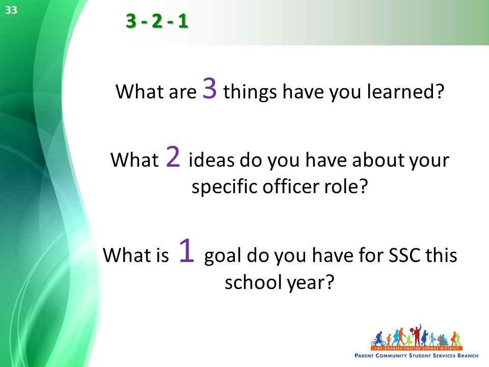 What are 3 things have you learned. What 2 ideas do you have about your specific officer role.