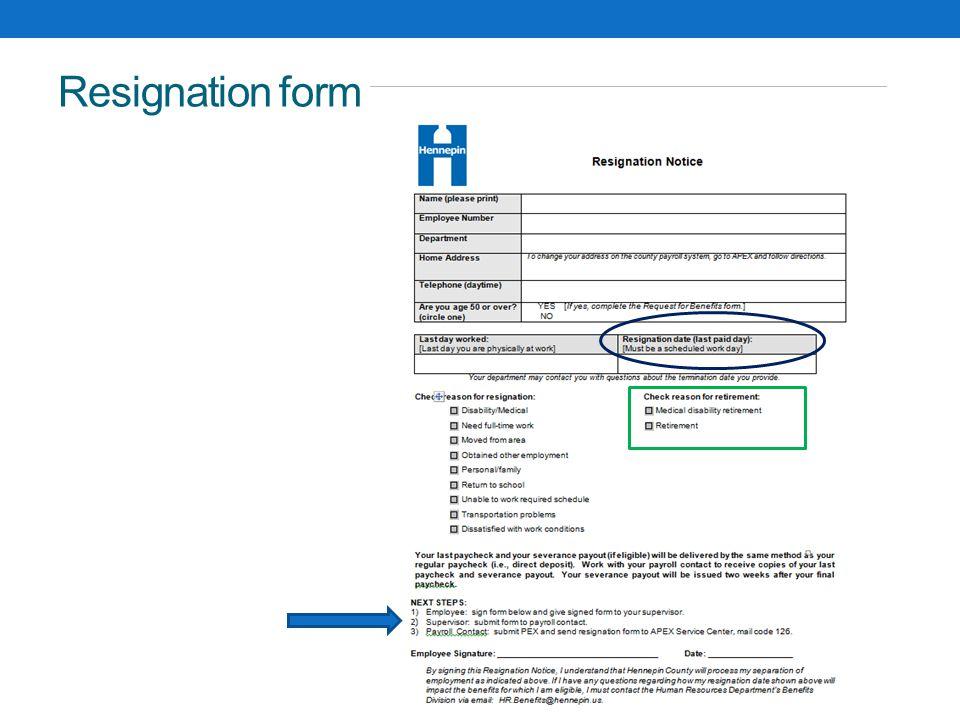 Resignation form