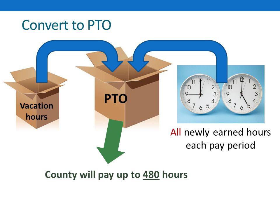 Convert to PTO Vacation hours PTO All newly earned hours each pay period County will pay up to 480 hours