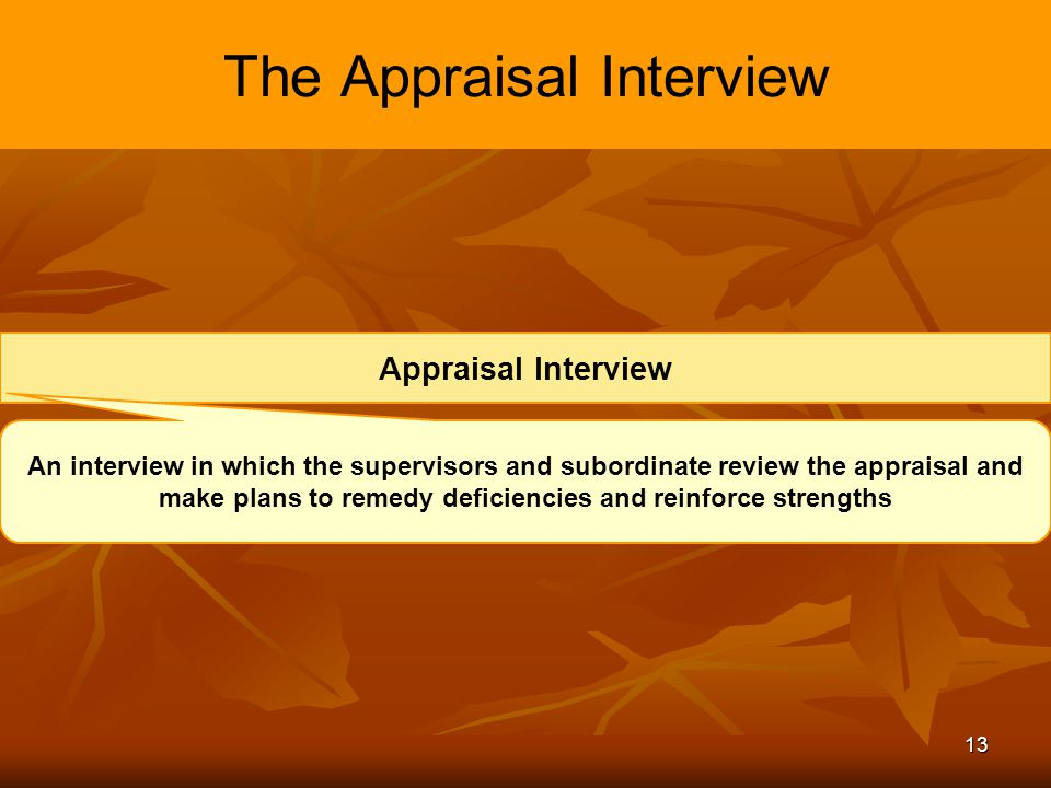 13 The Appraisal Interview Appraisal Interview An interview in which the supervisors and subordinate review the appraisal and make plans to remedy def