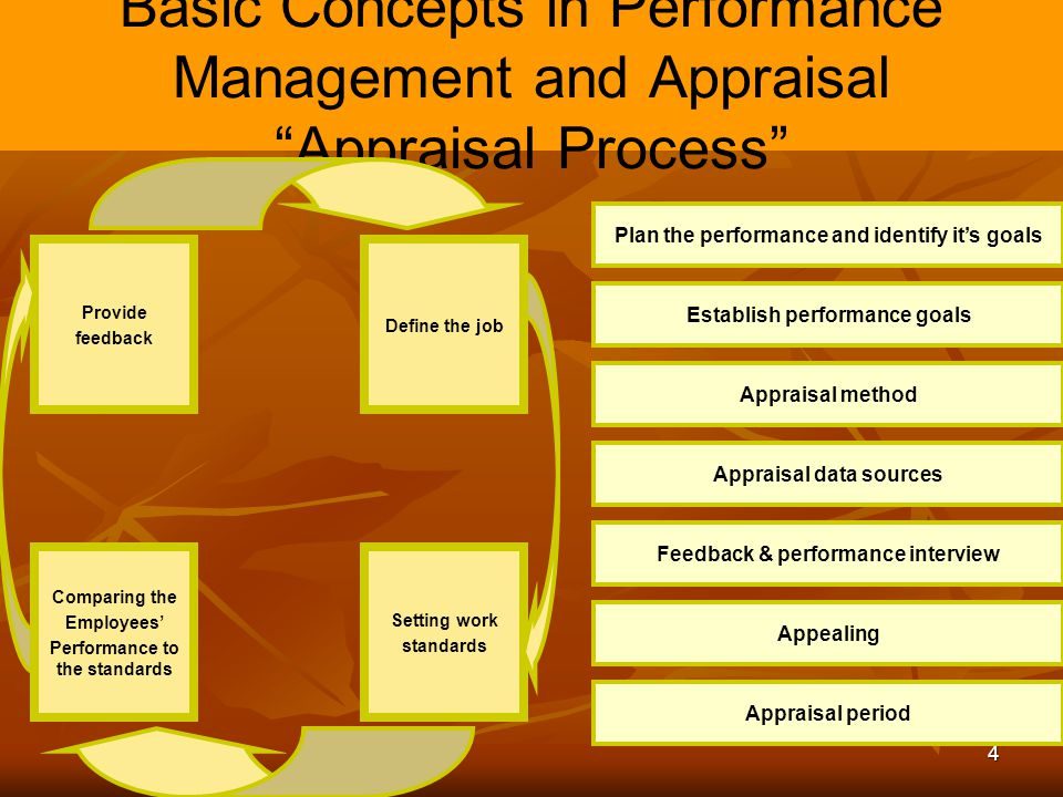 """4 Basic Concepts in Performance Management and Appraisal """"Appraisal Process"""" Setting work standards Provide feedback Define the job Comparing the Empl"""