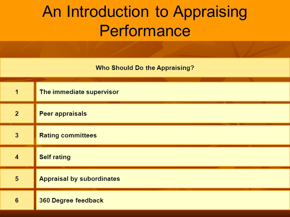 9 An Introduction to Appraising Performance Who Should Do the Appraising? 1The immediate supervisor 2Peer appraisals 3Rating committees 4Self rating 5