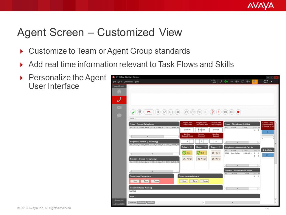 © 2013 Avaya Inc. All rights reserved. 14 Agent Screen – Customized View  Customize to Team or Agent Group standards  Add real time information rele