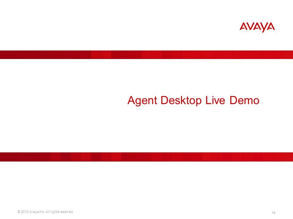 © 2013 Avaya Inc. All rights reserved. 19 Agent Desktop Live Demo
