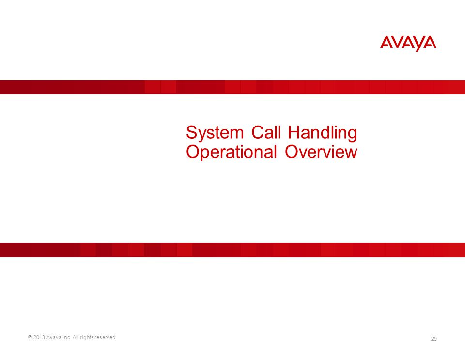 © 2013 Avaya Inc. All rights reserved. 29 System Call Handling Operational Overview