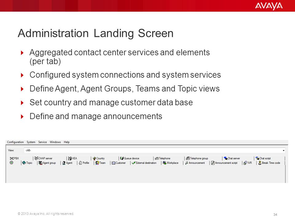 © 2013 Avaya Inc. All rights reserved. 34 Administration Landing Screen  Aggregated contact center services and elements (per tab)  Configured syste