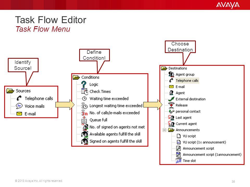 © 2013 Avaya Inc. All rights reserved. 38 Task Flow Editor Task Flow Menu Identify Source! Define Condition! Choose Destination