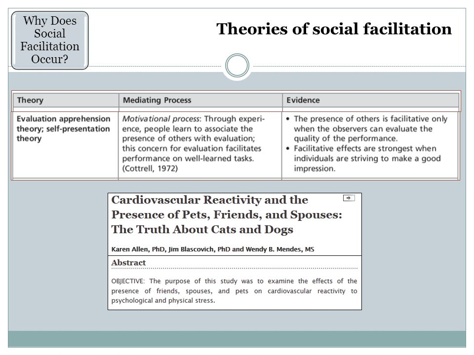 Theories of social facilitation Why Does Social Facilitation Occur