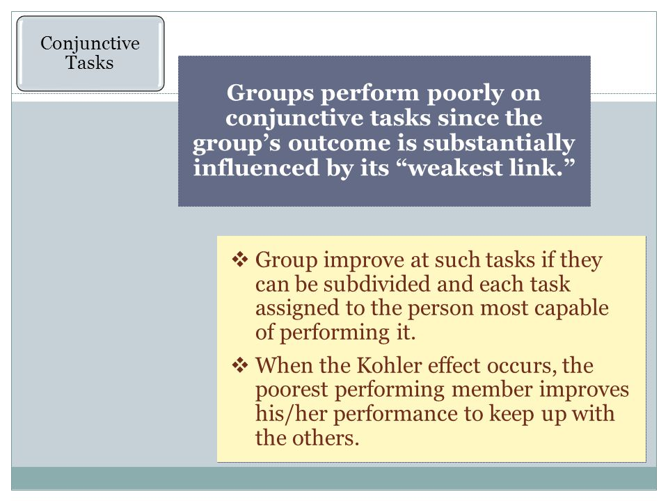 Conjunctive Tasks Groups perform poorly on conjunctive tasks since the group's outcome is substantially influenced by its weakest link.  Group improve at such tasks if they can be subdivided and each task assigned to the person most capable of performing it.