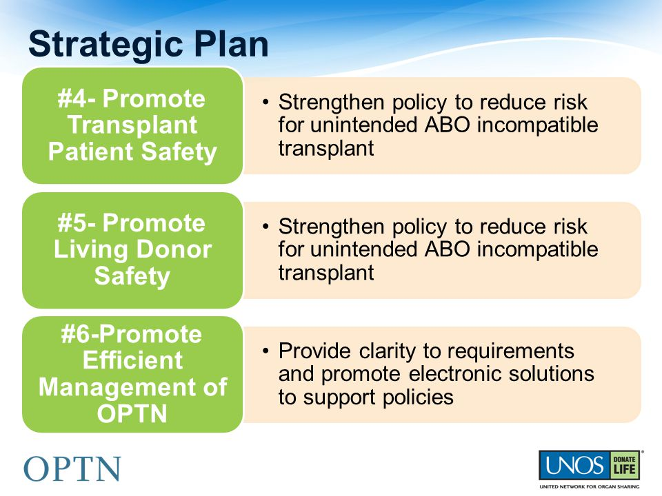 Strengthen policy to reduce risk for unintended ABO incompatible transplant #4- Promote Transplant Patient Safety Strengthen policy to reduce risk for