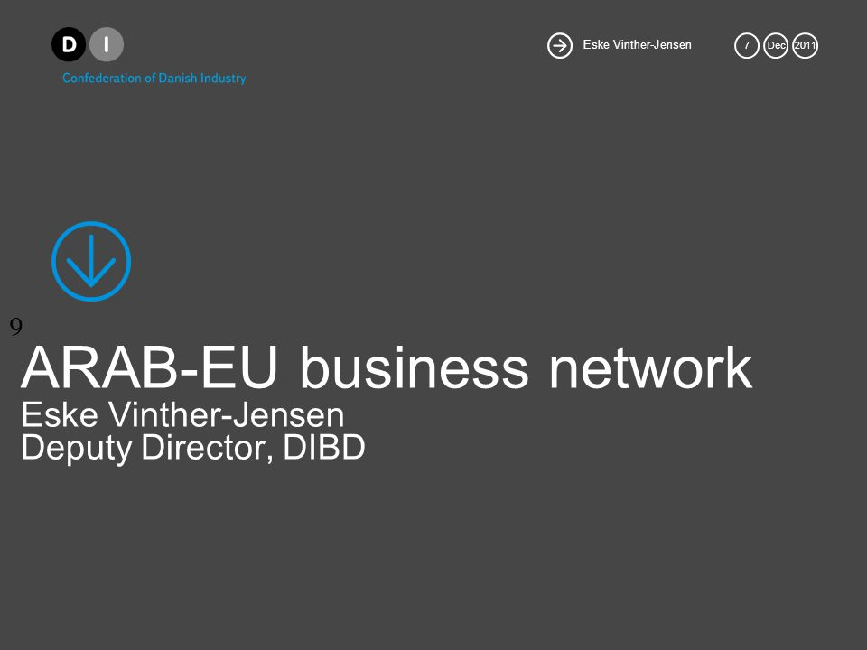 9 Eske Vinther-Jensen 7Dec2011 ARAB-EU business network Eske Vinther-Jensen Deputy Director, DIBD