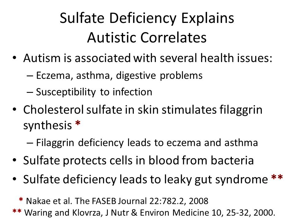 Sulfate Deficiency Explains Autistic Correlates