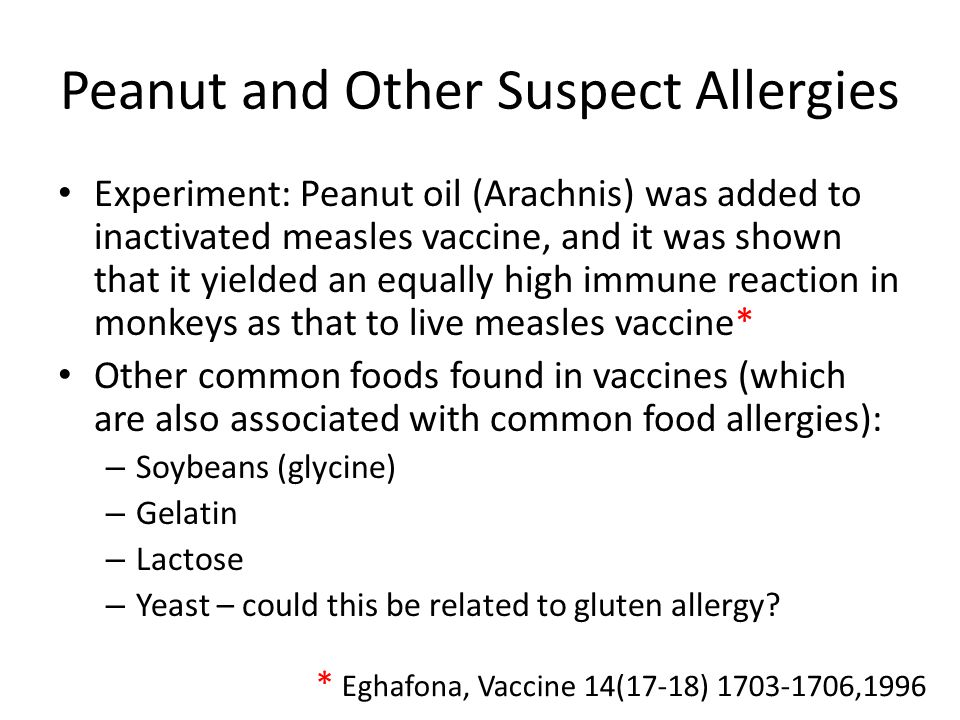 Peanut and Other Suspect Allergies Experiment: Peanut oil (Arachnis) was added to inactivated measles vaccine, and it was shown that it yielded an equally high immune reaction in monkeys as that to live measles vaccine* Other common foods found in vaccines (which are also associated with common food allergies): – Soybeans (glycine) – Gelatin – Lactose – Yeast – could this be related to gluten allergy.