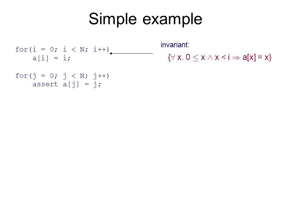 Simple example for(i = 0; i < N; i++) a[i] = i; for(j = 0; j < N; j++) assert a[j] = j; { 8 x. 0 · x ^ x < i ) a[x] = x} invariant:
