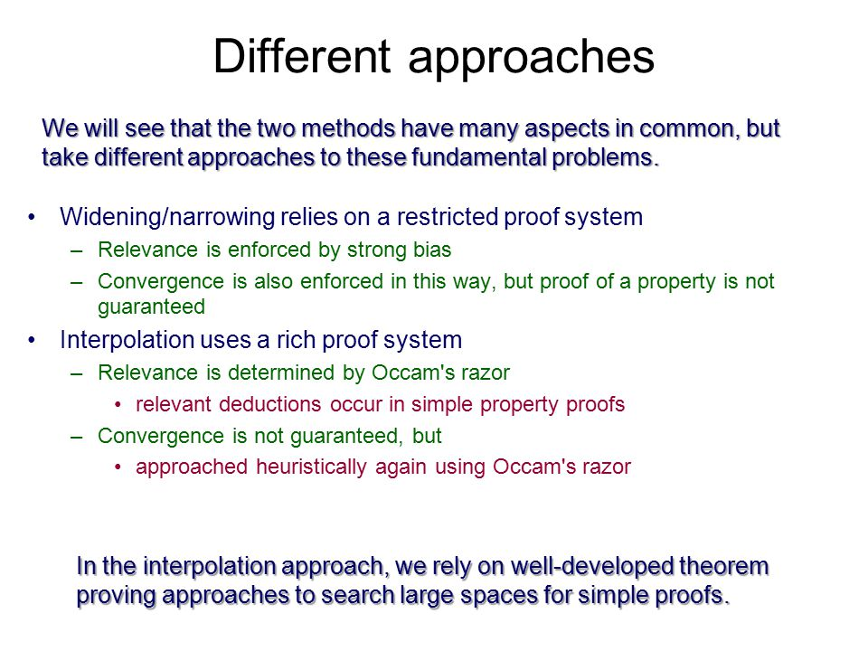 Applying Occam s Razor Define a (local) proof system –Can contain whatever proof rules you want Define a cost metric for proofs –For example, number of distinct predicates after dropping subscripts Exhaustive search for lowest cost proof –May restrict to forward or reverse proofs  x = e  e/x] FALSE  unsat.