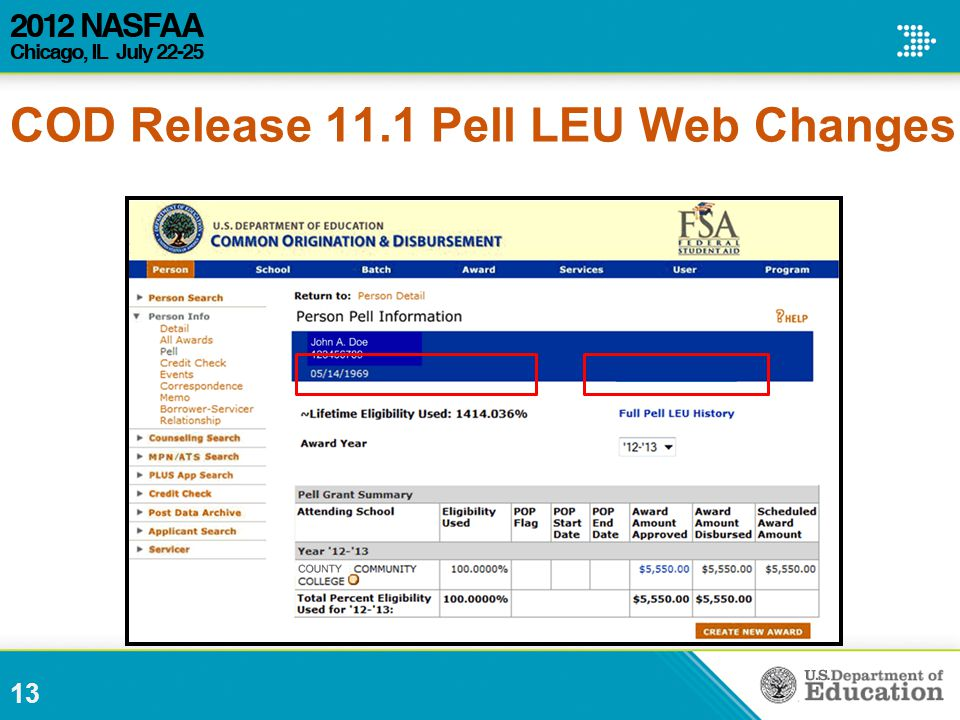 13 COD Release 11.1 Pell LEU Web Changes