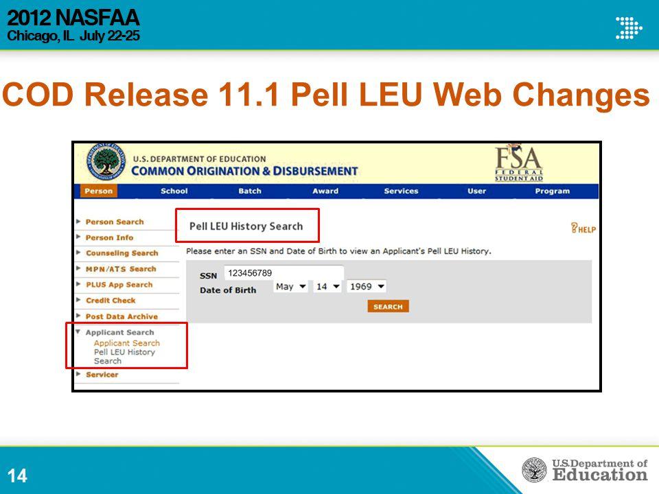 14 COD Release 11.1 Pell LEU Web Changes