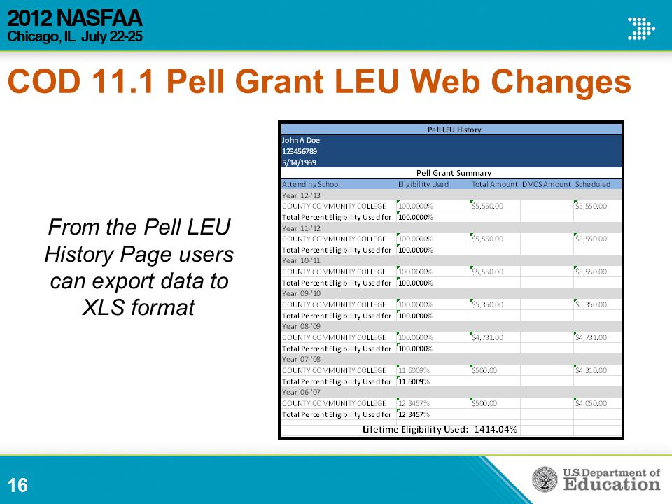 16 From the Pell LEU History Page users can export data to XLS format COD 11.1 Pell Grant LEU Web Changes