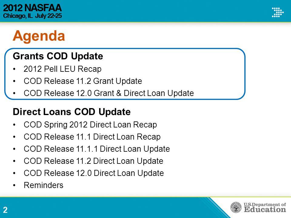 Agenda Grants COD Update 2012 Pell LEU Recap COD Release 11.2 Grant Update COD Release 12.0 Grant & Direct Loan Update Direct Loans COD Update COD Spr