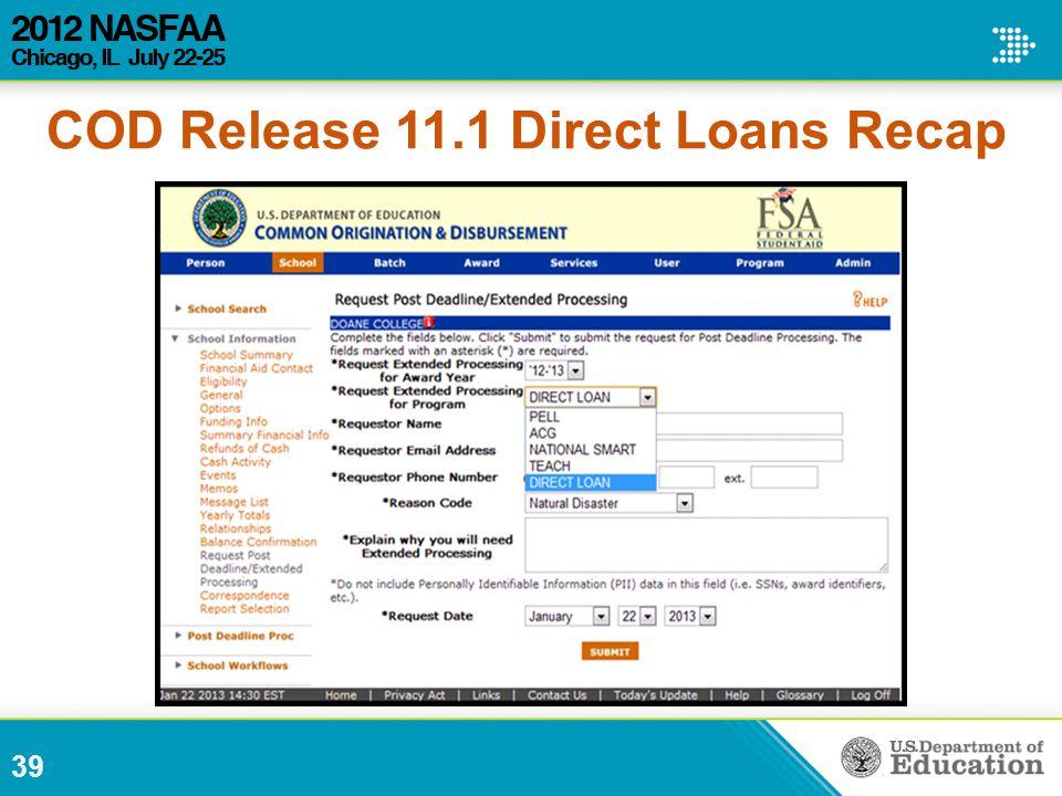 39 COD Release 11.1 Direct Loans Recap