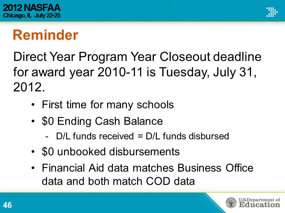 46 Direct Year Program Year Closeout deadline for award year 2010-11 is Tuesday, July 31, 2012.