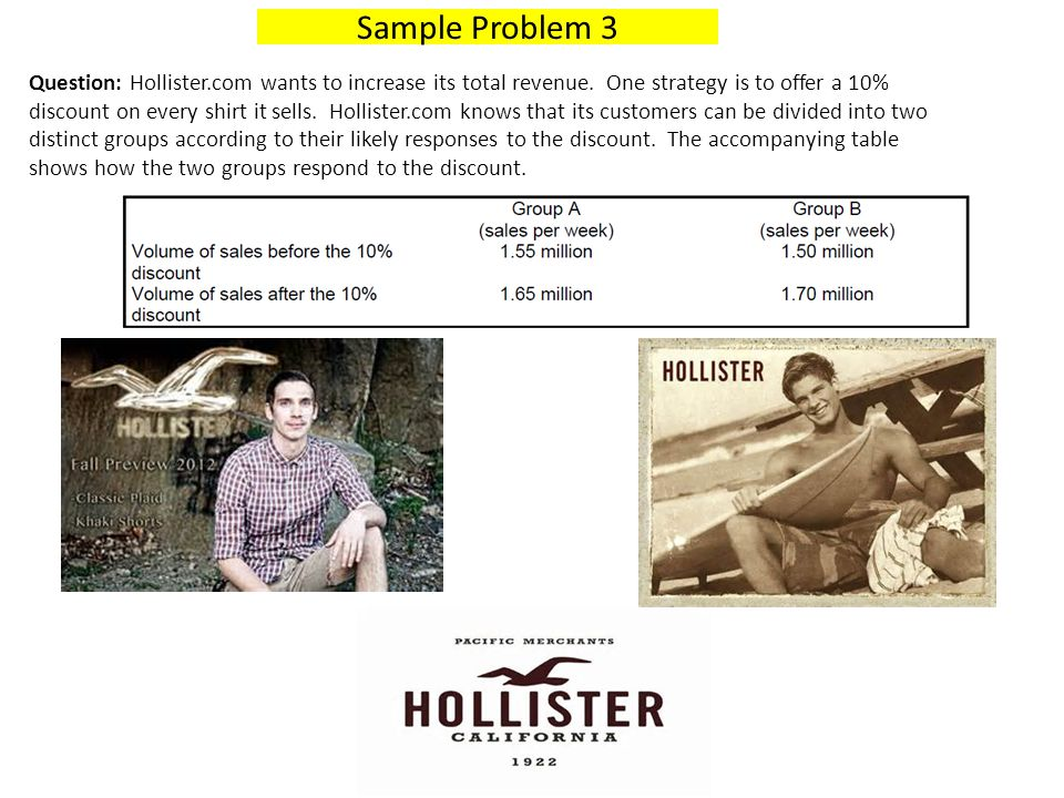 Question: Hollister.com wants to increase its total revenue. One strategy is to offer a 10% discount on every shirt it sells. Hollister.com knows that
