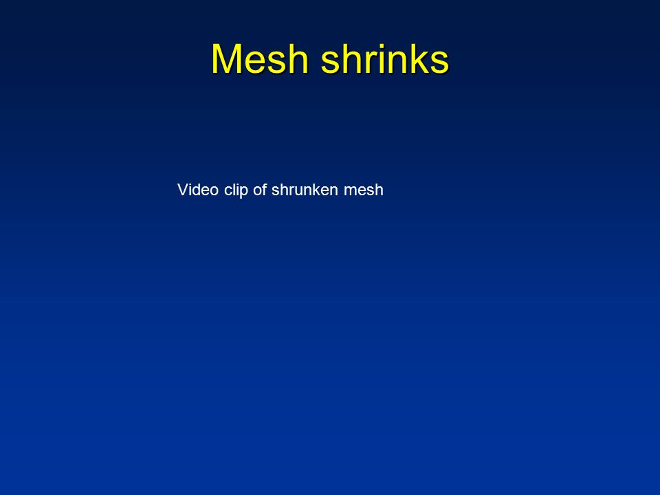 Mesh shrinks Video clip of shrunken mesh