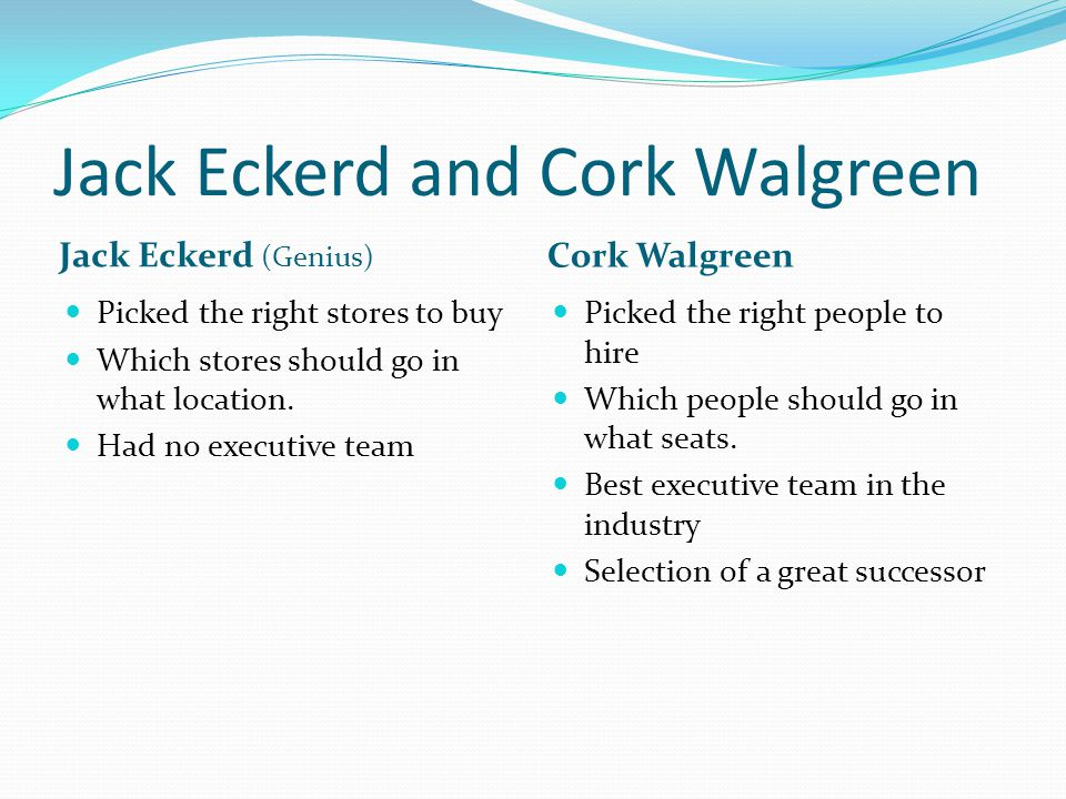 Jack Eckerd and Cork Walgreen Jack Eckerd (Genius) Cork Walgreen Picked the right stores to buy Which stores should go in what location. Had no execut