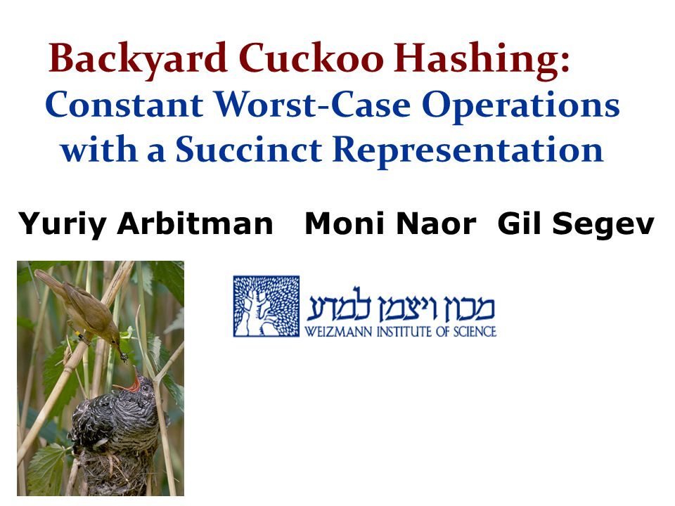 Backyard Cuckoo Hashing: Constant Worst-Case Operations with a Succinct Representation Yuriy Arbitman Moni Naor Gil Segev