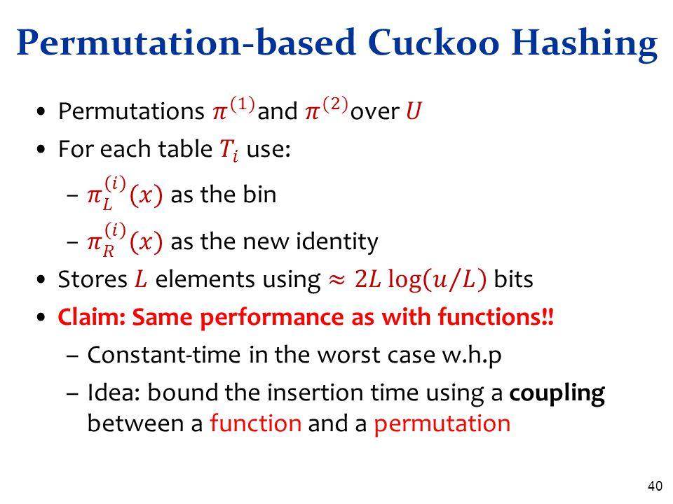 40 Permutation-based Cuckoo Hashing