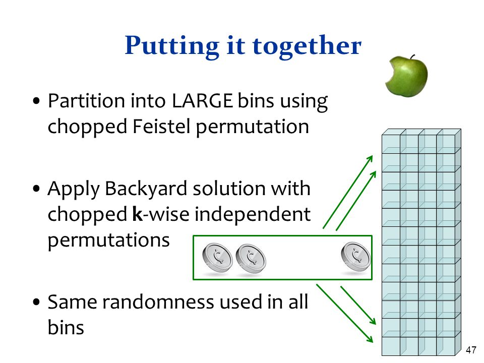 Putting it together Partition into LARGE bins using chopped Feistel permutation Apply Backyard solution with chopped k-wise independent permutations S