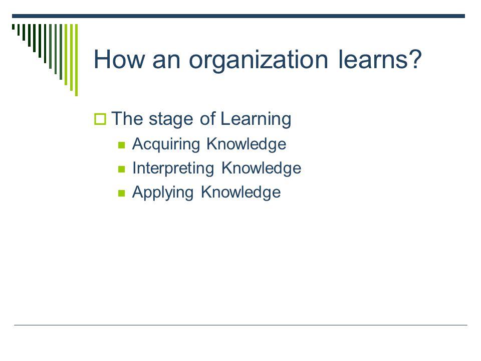 How an organization learns.