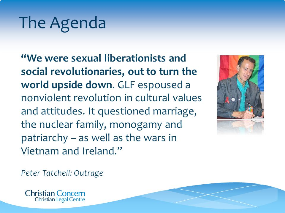 The Agenda We were sexual liberationists and social revolutionaries, out to turn the world upside down.
