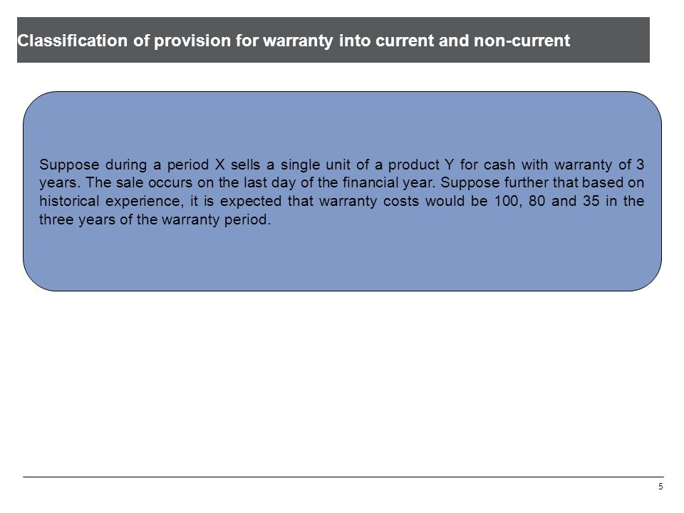 Classification of provision for warranty into current and non-current 5 Suppose during a period X sells a single unit of a product Y for cash with warranty of 3 years.