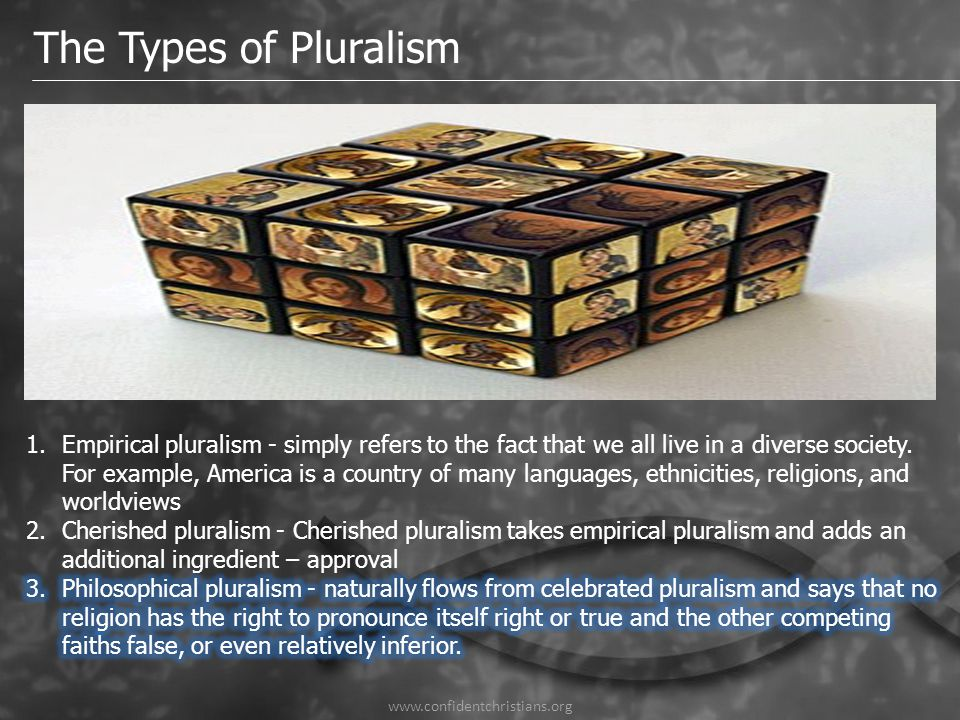 www.confidentchristians.org The Types of Pluralism