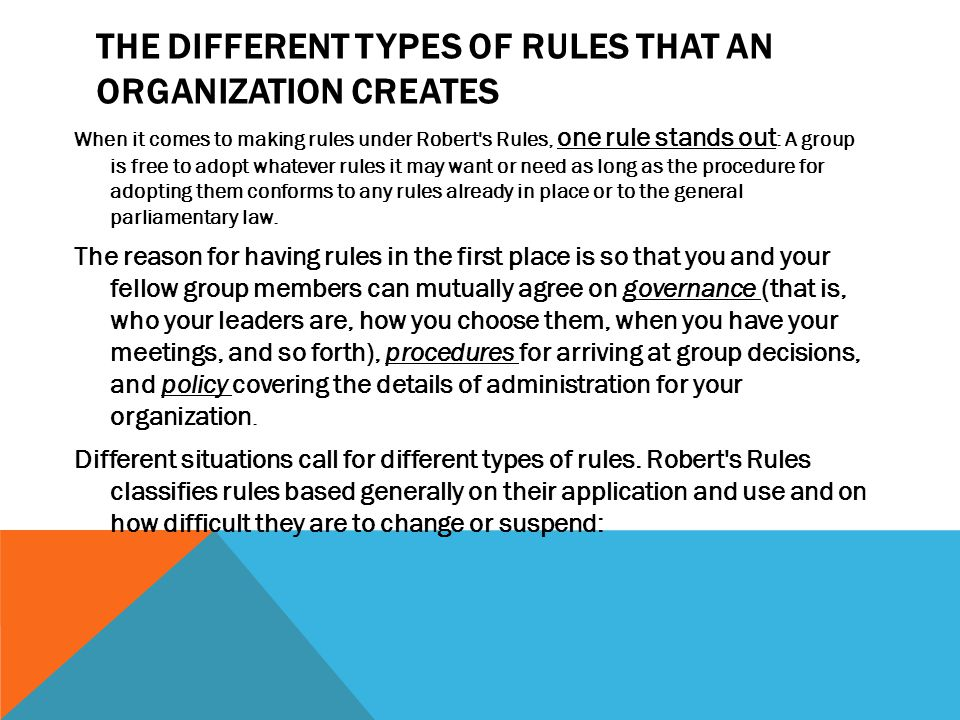 TYPES OF RULES UNDER ROBERTS RULES Charter: The charter may be either your articles of incorporation or a charter issued by a superior organization if your group is a unit of a larger organization.