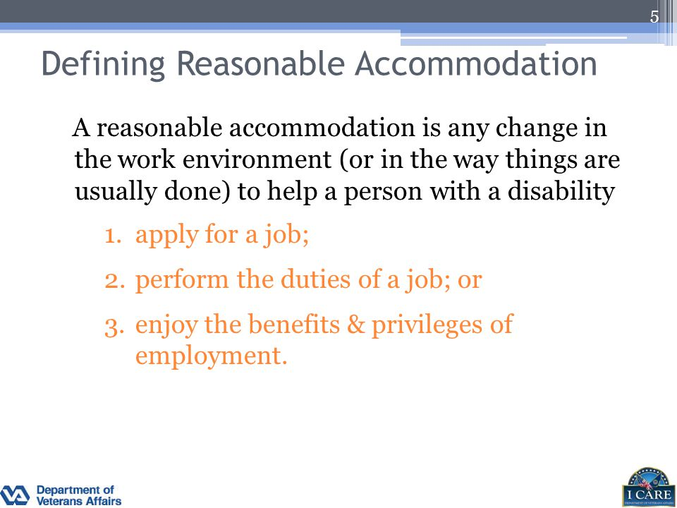 LRAC Responsibilities Understand VA's accommodation procedures.