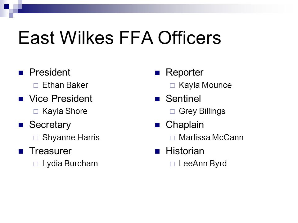 North Carolina State FFA Officers Made up of six students from across North Carolina  President  Five Vice- Presidents