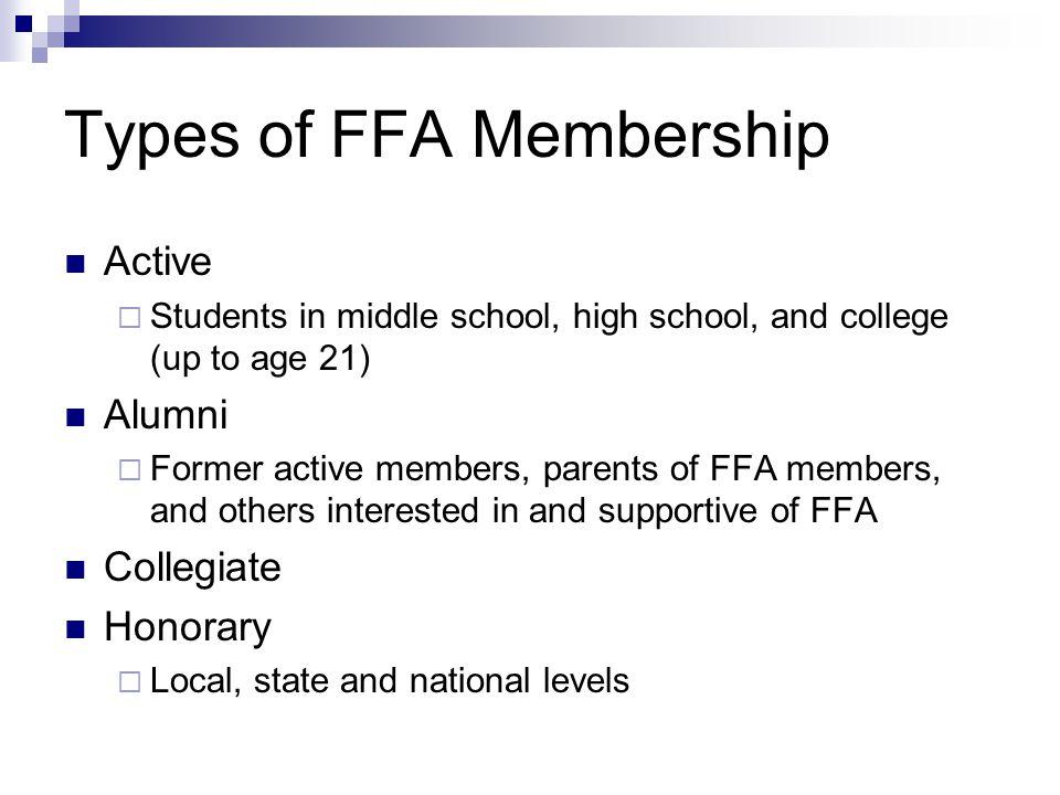 FFA Degrees Discovery FFA Degree (Middle School) Greenhand FFA Degree Chapter FFA Degree State FFA Degree American FFA Degree