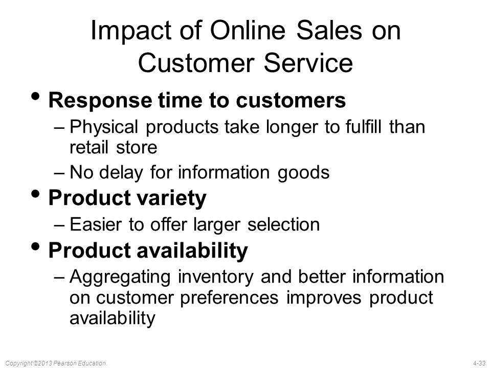 4-33Copyright ©2013 Pearson Education. Impact of Online Sales on Customer Service Response time to customers –Physical products take longer to fulfill