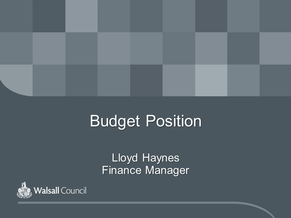 Budget Position Lloyd Haynes Finance Manager