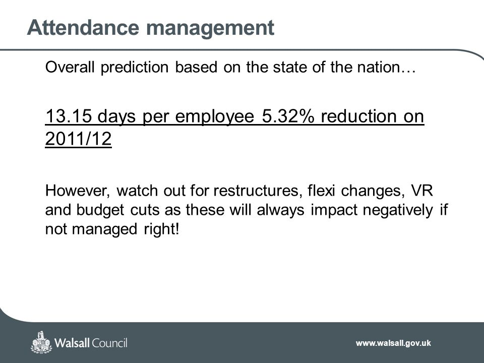 www.walsall.gov.uk Attendance management Overall prediction based on the state of the nation… 13.15 days per employee 5.32% reduction on 2011/12 However, watch out for restructures, flexi changes, VR and budget cuts as these will always impact negatively if not managed right!