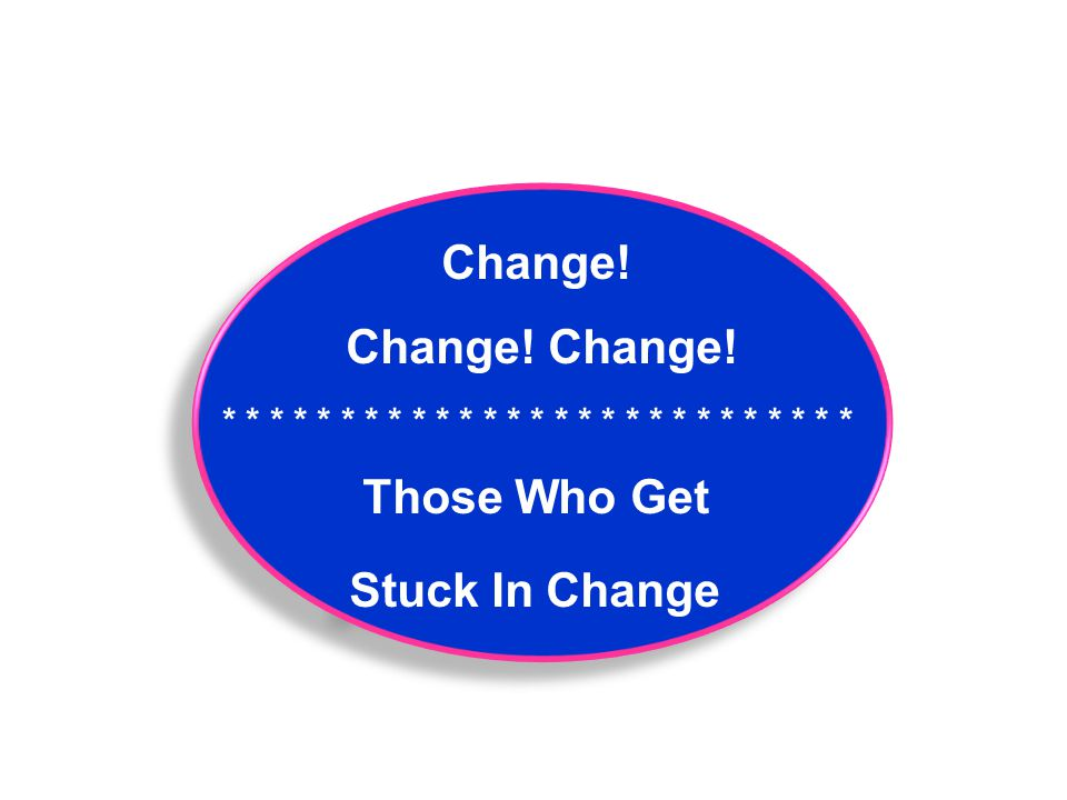 Change! Change! Change! * * * * * * * * * * * * * * * * * * * * * * * * * * * Those Who Get Stuck In Change Change! Change! Change! * * * * * * * * *
