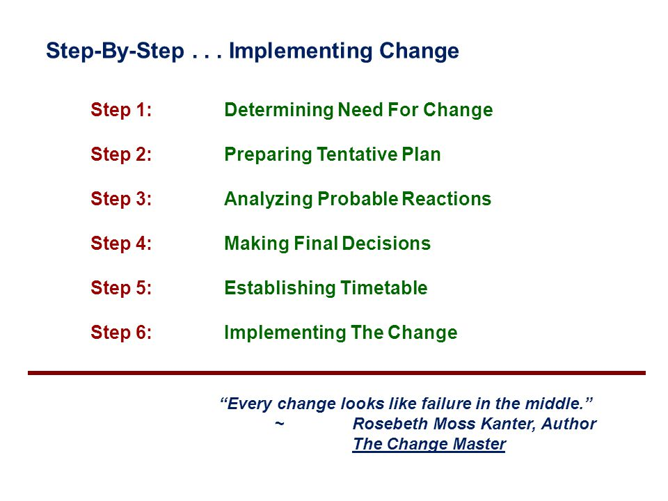 Step-By-Step... Implementing Change Step 1: Determining Need For Change Step 2: Preparing Tentative Plan Step 3: Analyzing Probable Reactions Step 4: