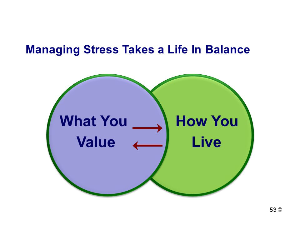 Managing Stress Takes a Life In Balance What YouHow You Value Live 53 ©