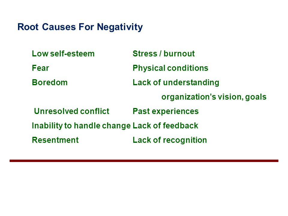 Root Causes For Negativity Low self-esteemStress / burnout FearPhysical conditions BoredomLack of understanding organization's vision, goals Unresolve